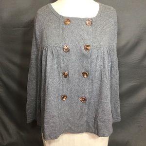 Ann Taylor Loft grey pea coat style shirt